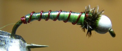Chartreuse & Red ASB Chironomid Pupa Fly Pattern