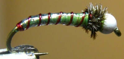 Chartreuse & Red ASB Chironomid Pupa Fly