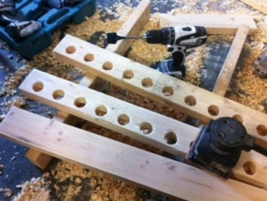 ... drilling & sanding the rod rack!