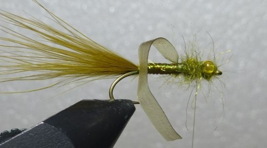 ... winding up the dubbing on the Stump lake damselfly nymph fly pattern!