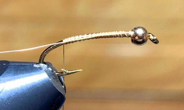Ginger Lamsel - Golden Damselfly Nymph Leech Fly Pattern - Tying Step 2